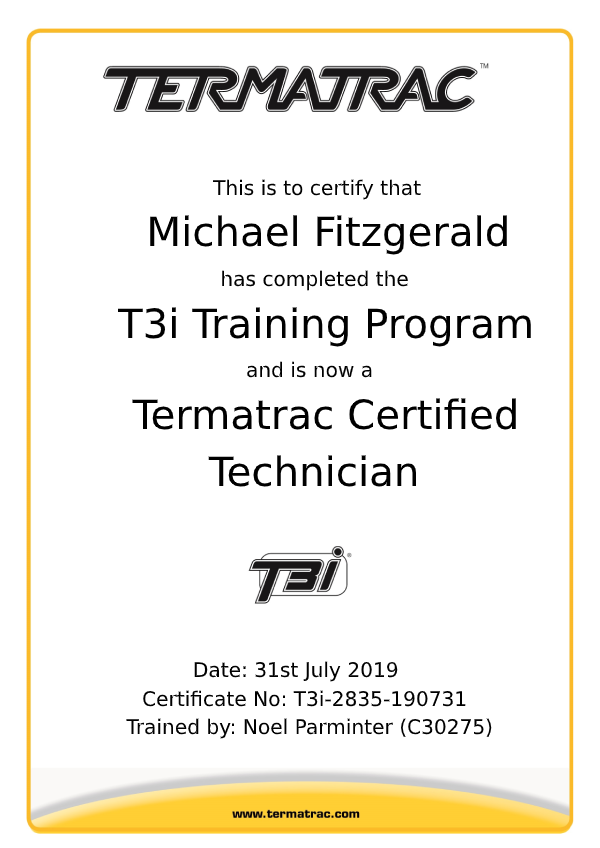 Termatrac Training Certificate Michael