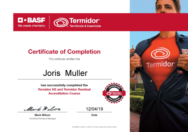 Termidor accreditation Joris Muller